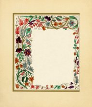 Victorian border with colourful flowers and vines