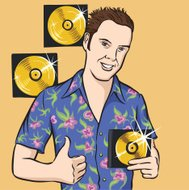 cartoon young man with compact discs