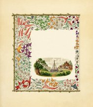 Victorian floral border with Maypole dance