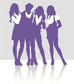 Silhouettes of girls talking to each other