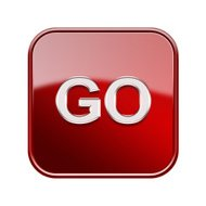 Go icon glossy red, isolated on white background