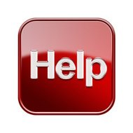 Help icon glossy red, isolated on white background
