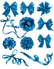 Big set of blue gift bows with ribbons.