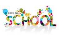 Illustration of back to school text with bubbles