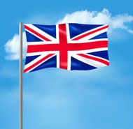 Flag of the United Kingdom on blue sky.