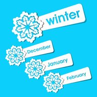 Winter season stickers and labels