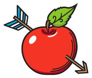 Cartoon Apple With Arrow