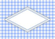 Blue rhombus label with dotted frame