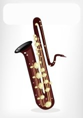 Musical Bass Saxophone with A White Banner