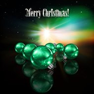 Abstract celebration background with green Christmas decorations