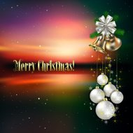 celebration background with white Christmas decorations and hand