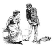 Workman chatting to a young woman