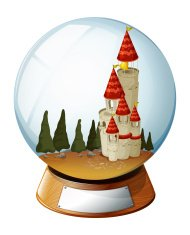 castle with pine trees inside a crystal ball