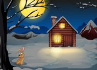 rabbit outside the house in a moonlight scenery