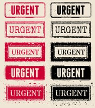 Urgent Red and Black Rubber Stamp