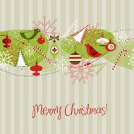 Merry Christmas greeting template with ornaments