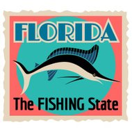 Florida the fishing state luggage label