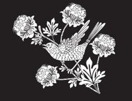 Vintage Style Bird Branch and Flowers