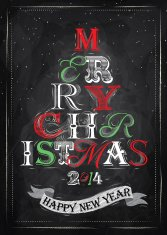 Merry Christmas and New Year lettering tree red