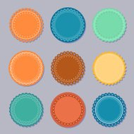 Set of colorful round stickers or labels