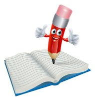 Cartoon Pencil Man Writing in Book
