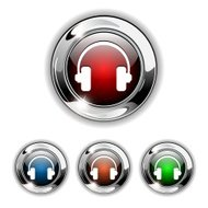 Vector Buttons With Headphone Icon