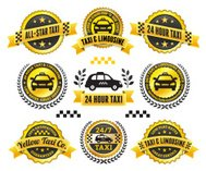 Taxi and Limousine Black & Gold Badge Set
