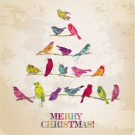 Retro Christmas Card - Birds Tree