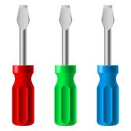 Three colorful screwdrivers
