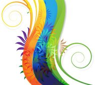 Transparent flowers on abstract rainbow background