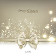 Elegant Christmas background with bow and place for text.
