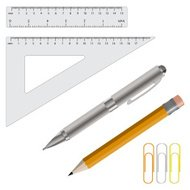 Vector illustration of pencil, pen and rulers