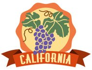 California wine country luggage label or travel sticker