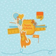 Scrapbook Design Elements -Baby Shower Set with Cute Foxes