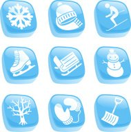 Winter Icons Snowflake Hat Scarf Ski Sledge Snowman Gloves Shove