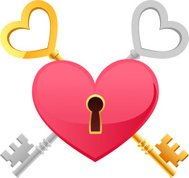 Skeleton Keys Gold Silver Heart Shape keypath
