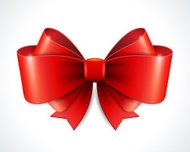 Red vector gift bow and ribbon.
