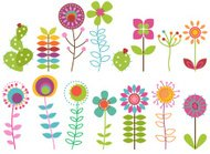 Vector Collection Funky Retro stilisierte Blumen