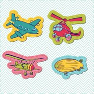 Set of Baby Boy Plane Stickers for design and scrapbook