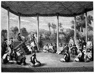 Antique illustration of people in Indian ceremony