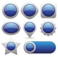Eight different buttons in blue color