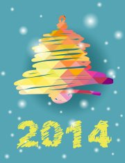 Vector Christmas and New Year hand-painted decoration with bell
