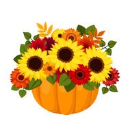 Autumn colorful flowers in pumpkin. Vector illustration.