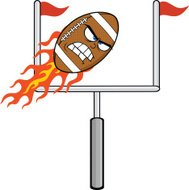 Angry Flaming American Football Ball Cartoon Character With Goal