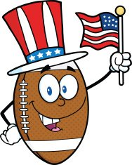 American Football Ball With Patriotic Hat And USA Flag
