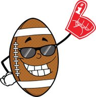 Smiling American Football Ball With Sunglasses Holding A Foam Fi