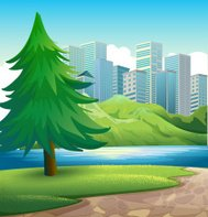 pine tree beside  river across the tall buildings