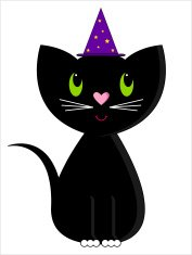 Smiling Halloween Cat with Wizard's Hat