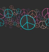 Doodle peace symbol seamless pattern background EPS10 file.