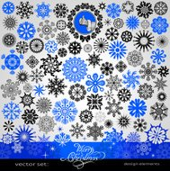 Christmas and New Year creative snowflakes set